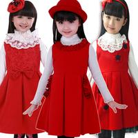 Children autumn dress in autumn and winter of 2014 new girl dress children princess  Korean woolen