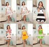 Summer Women Cute Cartoon Milk Silk Dress Pajamas Short Sleeve Nightie Nightwear Sleepwear Free Shipping