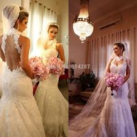 2014 New Fashion Custom Made High Quality Romantic Sexy Backless Vestidos De Novia Mermaid Wedding Dresses Lace Bridal Gown