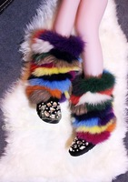 High Qualty 2015 New Women Genuine Leather Knee High Boots Fashion Mixed Color Crystal Snow Boots Winter Warm Natural Fur Boots