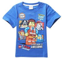Lego Movie Children Short-sleeved T-shirts Summer Cartoon Short Tops For 3-10Yrs BabI Boys Cotton Fashion Clothing Free Shipping