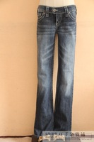 Special price Silver jeans 98% cotton mid waist slim Bleached two button dark blue small plare pants women's jeans