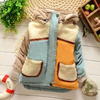 2014 wadded jacket male child outerwear plus velvet patchwork thickening wadded jacket