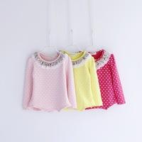 2014 autumn children's clothing dot child long-sleeve T-shirt female child baby 100% cotton basic shirt