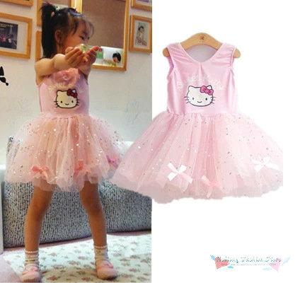 Retail pink summer cartoons hello cat baby girls dress new 2014 fashion cute princess gauze Sequins kids dress sweet bow dress(China (Mainland))