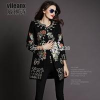 2014 Autumn Winter  Women coat new style european heavy overcoat woolen cloth embroidered cloth coat J036