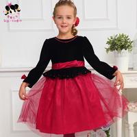 Shy Princess Kids Girls Dress 2014 new long velvet children baby princess  yarn