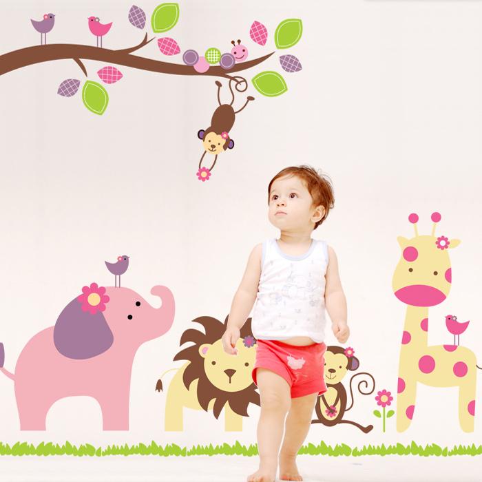 Free shipping cartoon animal wall sticker for kids rooms bird lion monkey giraffe elephant anime poster(China (Mainland))