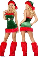Sexy Christmas Costume Green Red Winter Santa Wear For Women (Mini Dress+Hat+Stockings) LC7251 disfraces fantasias femininas