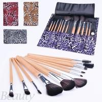 HOT Selling maquiagem professional 12 PCS Makeup Wood Brush Set Cosmetic Make up Tool Leopard Bag Beauty Brushes high Quality b4