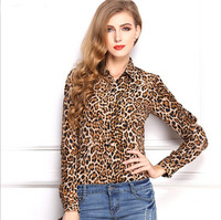 Camisa women leopard print blouse 2014 autumn new long sleeve turn-down collar chiffon shirt women work wear blusas K29