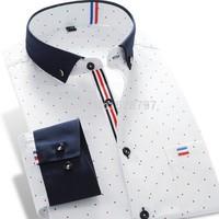 T1186 S-XXXL 2014 New brand Men's Fashion shirts Casual Mens Slim Fit Polka Dot shirt Long Sleeve Men Patchwork dress blouse