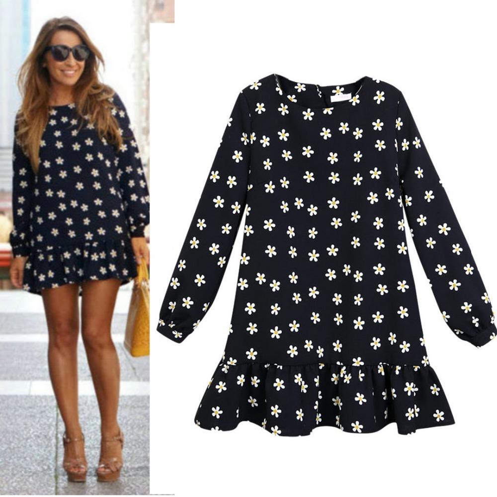 Women casual black daisy print floral long sleeve loose mini shift