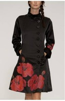 Autumn and winter Red Flower Print National Trend  Women's Trench