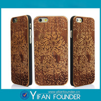 Hight Quality New Style wood Wood Hard Back Wooden Case Cover phone Case for iPhone 6 with engrave pattern
