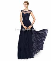 Sexy New Vestidos De Fieata Navy Blue Sheer Cap Sleeves Chiffon Floor Length Prom Dresses Applique Beaded Top Bridesmaid Dresses