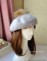 2014 Fall Winter New Rabbit Fur Hats Wholesales Raccoon Fur Ball Rabbit Hair Hat Flat Topped Painter Cap Beret