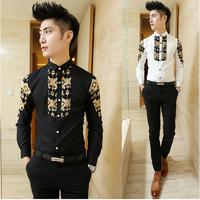 Free Shipping 2014 PROMOTION Fashion Men shirts Men's Long-sleeved Korean Casual camisas Leisure Slim Fit shirt for Men T1179