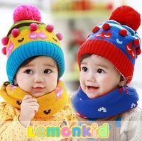 2014 New lemonkid winter Plus velvet warm Children Cap + Scarf Thickened Cartoon Cat striped Ball Knitted Kids hats 24022#