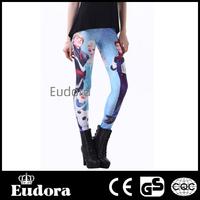 Eudora Brand  2014 Fashion Womens Sexy Slim High Waist Stretch Fitness Sport Cartoon Princess Print  Wholesale Legins 79242