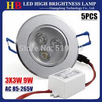 Hot sale 5pcs LED Downlight Ceiling Recessed Lamp 3X3W 9W LED Spotlight Bulb White/Warm/Cool White AC 85-265V LED Lighting
