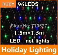 1.5m*1.5m led net string light christmas outdoor decoration 110V  220V 96leds Holiday Garden Decoration Lighting free shipping