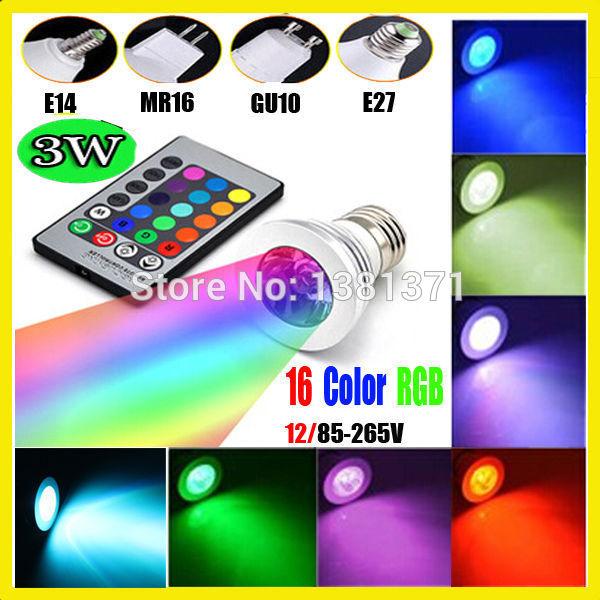 RGB led bulb GU10 E27 E14 MR16 3W 12V 110V 220V RGB Color Changeable LED Light Bulb lamps Wireless Remote Con
