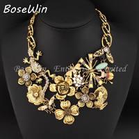 2014 Unique Vintage Gold Chain Fashion Women Bugged Out Retro Zinc alloy Flower Necklaces & Pendants Statement Necklaces CE2631