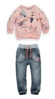 1-StFreeshipping,autumn Baby Girl's clothing sets Brand fashion Girl's clothing long T-shirt blouse + jeans children's denim set