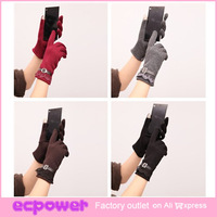 New Style Gloves Phone Touch Gloves For Smart Phone Warm Winter Gloves Ladys Lace Villus Gloves 5 Colors