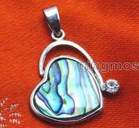 SALE Big 20mm heart shape natural Abalone Shell Pendant with Rhinestone-pen244