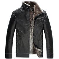 Fashion fur akrasanee one piece medium-long leather clothing male fur coat overcoat sheepskin fur male
