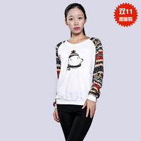 2014 cartoon bear embroidered long-sleeve pullover sweatshirt 100% cotton slim outerwear free shipping promotion