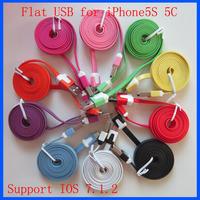 Support IOS 7 / 8 Wholesale 100pcs/lot 1M 3ft Flat Noodle USB Data Sync Cable for iPhone 5 5C 5S 6 Plus
