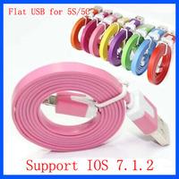 Wholesale 500pcs/lot 1M 3ft Flat Noodle USB Data Sync Cable for iPhone 5 5C 5S 6 Plus Support IOS 7 8 Newest Version