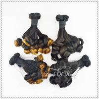 "7A Fumi Curl Hair Weaving Big Corkscrew Curl Ombre Two-Tone Color Real Hair Extensions 100g/pc 3Pcs/lot 10""-16"" 1B T1B/30"