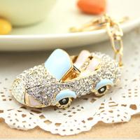 3Colors Great Gift for girl women full Rhinestone Running Car Key chain metal Keychain Alloy Keyring,Gold Plated ,Handbag Charms