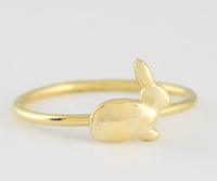 Free shipping 10pcs/lot Cute tiny rabbit shape ring gold/silver/rose-gold plated lovely rabbit finger ring JZ-106