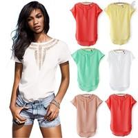 2014 Spring Summer Female Trendy Irregular Hem Shirt Trendy Blouse Hollow Out the Bat Sleeve Chiffon Unlined Upper Garment Y374