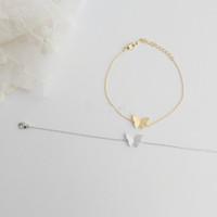 2014 Gold/Silver girls ladies simple Jewelry Gift Idea Dainty Cute animal Butterfly Wings Bracelets for Women