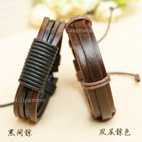 Handmade Rope Jewelry Wrap Genuine Leather Bracelet 6525 Black / Brown Vintage Wristband for Men Women Gift Free Shipping