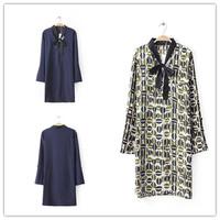 New Arrival 2015 Hot Sale Women Shirt Casual Fold Sleeve Slim Long Chiffon Shirts Elegant Brand Designer Bow Blouse