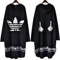 2 medium-long plus size casual with a hood print sweatshirt one-piece dress mm outerwear female