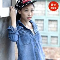 Denim shirt female long-sleeve 2014 autumn plus size slim national trend vintage embroidery denim shirt  jeans blouse S,M,L,XL