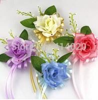 Wholesale 10pcs 8Cm Romantic  Silk Party Decoration Artificial Rose Boutonniere Corsage Wrist Flower Sister Flower
