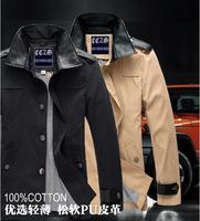2014 new arrival Men's brand fashion casual Winter PU leather collar outdoor thin Jacket coat  Plus size M-XXXL Wholesale&Retai