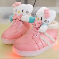 2014 winter new large padded cotton shoes children cartoon LED lights thick velvet shoes and a generation of fat girls