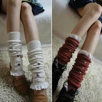 2014 Fashion women girls leg warmers rivet Down Boot Cuffs lace trim gaiters Boot Socks Crochet Leg Warmers Knit Leg Warmers