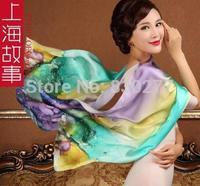 Shanghai Story   female  100% silk printed scarves Mood for Love