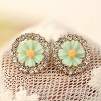 Fashion Cute Resin Chrysanthemum Stud Earrings,18k Rose Gold Ctystal earrings for women,brincos grandes